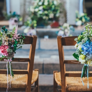 bride and groom chair bouquets