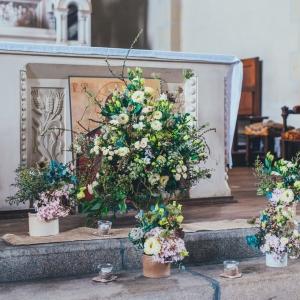 decoration florale autel mariage