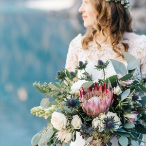 bride bouquet and floral wreath