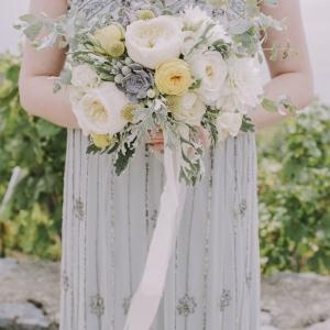 bouquet de mariée tons blancs et jaunes